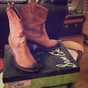 "Sam Edelman mid-calf cowboy boot 3"" heel size 9.5"